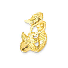 icecarats 14k yellow gold mermaid pendant charm necklace sea s only