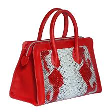 red snakeskin and leather purse