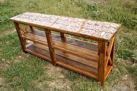 reclaimed stenciled rustic x console diy painted furniture repurposing upcycling rustic furniture build your own rustic furniture