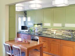 Green Tile Backsplash Kitchen Inspiring Green Painted Wooden Kitchen Cabinets With Stainless