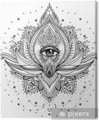 Obraz Vektorové Ornamentální Lotosový Květ Všudypřítomné Oko Vzorované Indiánské Paisley Ručně Kreslené Ilustrace Element Pozvání Tetování