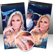 gretchen rossi married seen wearing new enement and wedding rings