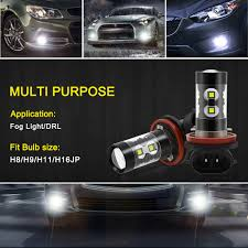 2x Canbus H11 H8 H9 Led Fog Light Bulb For Audi A3 A4 B6 B8 A6 C6 80 B5 B7 A5 Q5 Q7 Tt 8p 100 8l C7 8v A1 S3 Q3 A8 B9 S Line A7