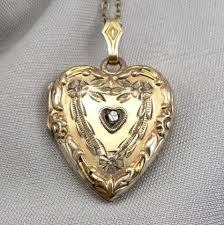 details about vintage gold filled diamond heart engraved locket pendant on chain necklace
