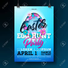 Vector Easter Egg Hunt Party Flyer Illustration With Flowers