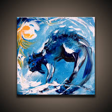 canvas abstract painting cat by peter dranitsin