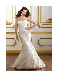 mori lee 1811 soft satin fishtail style wedding gown with train