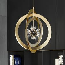 modern italian gold plated crystal concentric circles chandelier