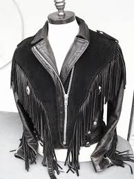 walter dyer fringe black motorcycle leather suede jacket sz 12 fringe