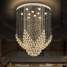 k9 crystal chandeliers led modern chandelier lights fixture flower home indoor lighting hotel hall lobby drop light round hanging lamps chandeliers crystal