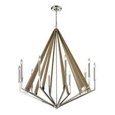 31476 10 madera 10 light chandelier in polished nickel and natural wood