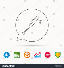 Baseball Bat Chart Baseball Bat Ball Icon Professional Sport Stock Vector Royalty Free