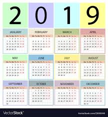 Calendar 2019 Year Week Starts With Monday Vector Image