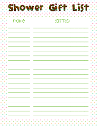 Free Printable Baby Shower Guest List Enchanting Baby Shower Gift List Template Diabetesmang