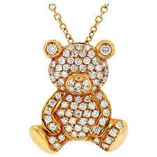 diamond teddy bear designer pendant 18k rose gold by assor gioielli for