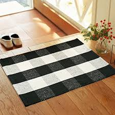 wolala home black white plaid stripes cotton washable rug durable livingroom solid floor rug simple fashion doormat floor mat kitchen area rug 2 0x3 0