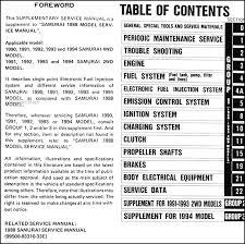 1990 1995 suzuki samurai repair shop manual supplement original