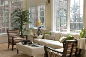 Home Interiors:Elegant Light Blue Sunroom Interior Design With White  Traditional Sofas Also Indoor Plants