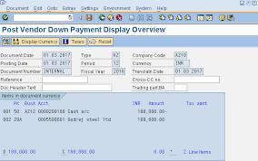Sap Vendor Down Payment Process Tutorial Free Sap Fi Training