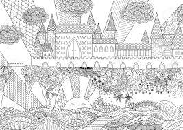 背景大人のぬりえデザイン要素に Zendoodle 城の風景です在庫があります