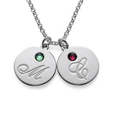 multiple initial pendant necklace with birthstones the name jewellery