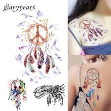 Design Sheet Art 1 Sheet Dreamcatcher Decal 14 Designs Waterproof Diy Tattoo Sticker Women Body Art Dream Catcher Indian Feather Temporary Tattoo