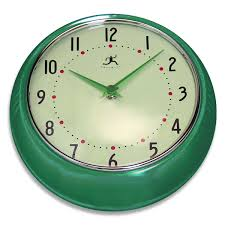 green fiftiesstyle kitchen wall clock  infinity wall clocks