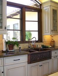 sink windows window terrific copper kitchen sinks remodeling ideas with farmhouse