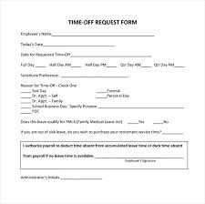 Request Time Off Letter Employer Time Off Request Form Sample Template Refund Letter