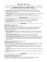 Resume Resume Sample For Administrative Assistant Best