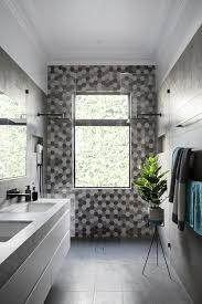 Modern bathroom shower ideas Inspiring Honeycomb Tile Walkin Shower The Spruce 19 Gorgeous Showers Without Doors