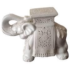 unique white elephant ceramic garden stool