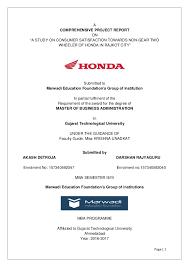 Comprehensive Project Report On Honda