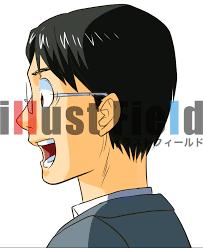 男 男性 横顔 驚き びっくり 眼鏡 定額制イラスト素材サイトイラスト