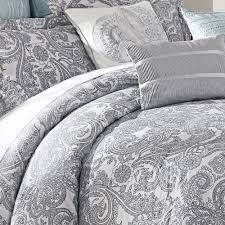luxe lavender 9 piece comforter set gray paisley white duvet cover