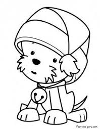 santa claus hat coloring page.  Hat Printable Christmas Puppy With Santa Claus Hat Coloring Pages   For Kids Inside Hat Page A