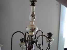 antique vintage italian fl porcelain ceramic brass 5 arm light chandelier