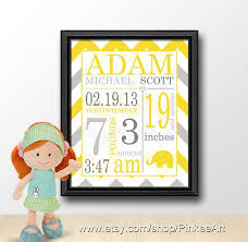 art wall decor baby announcement wall art yellow grey chevron by
