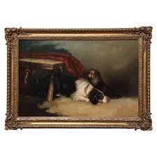 19th century english oil on canvas dog painting for