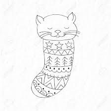 靴下の中の面白い小さな猫シンプルな北欧スタイルの芸術の保育園