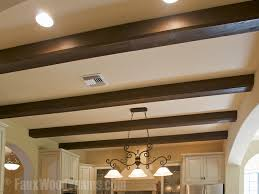 the softer edges of chamfered beams can be an expensive touch when using real wood