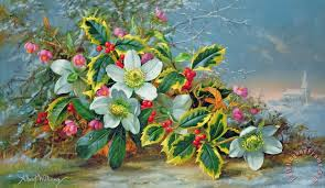 winter roses in a landscape painting albert williams winter roses in a landscape art print