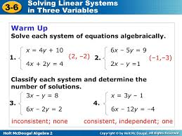 how to solve systems of equations algebraically tessshlo 2 solving