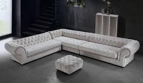 Cream Micro-Fiber Sectional Sofa and Ottoman