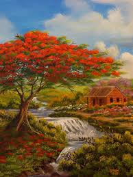 flamboyan y casita en el rio caribbean arttropical arte artpuerto ricowatercolor paintingcanvas