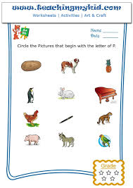 worksheet for kids - Circle the pictures that begin with the letter - P
