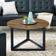 One of the most challenging skills is to decorate a round coffee table. Welwick Designs 32 In Dark Walnut Medium Round Mdf Coffee Table Hd8126 The Home Depot