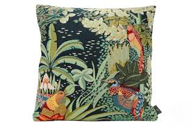 Annes Table | Art Deco cushion cover, Jungle and three birds ...