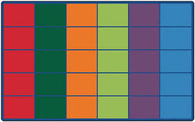colorful rows classroom seating rug