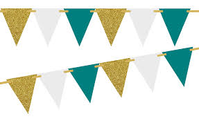 Triangle Banner Gold Glitter Solid Teal Solid White 10ft Vintage Pennant Banner Paper Triangle Bunting Flags For Weddings Birthdays Baby Showers Events Parties